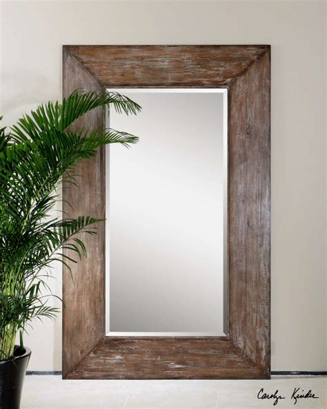 rustic mirrors home decor large antiqued hickory tone beveled wall mirror langford