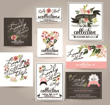 Wedding Invitation Card Eps by Different Flower Wedding Invitation Cards Vector Free