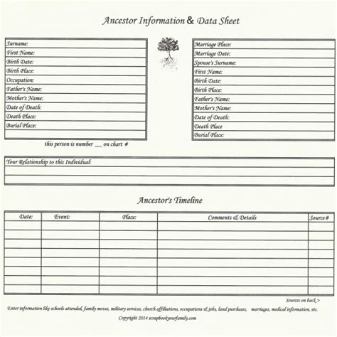 historical page template our roots ancestor data timeline chart a 8 x 8