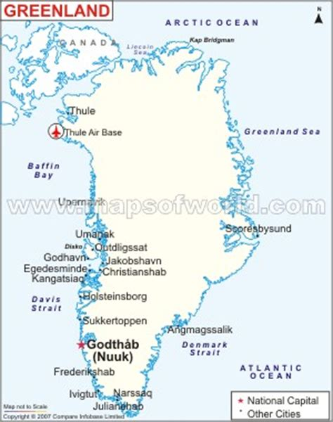 greenland map with cities greenland map
