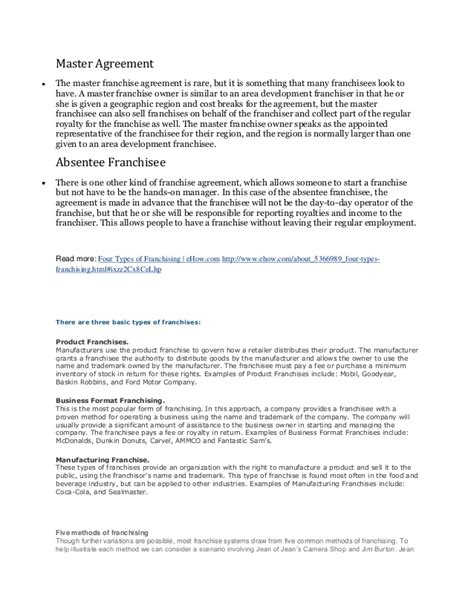 master franchise agreement template franchising