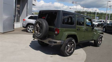 green jeep wrangler unlimited 2016 jeep wrangler unlimited sarge green gl294566 mt