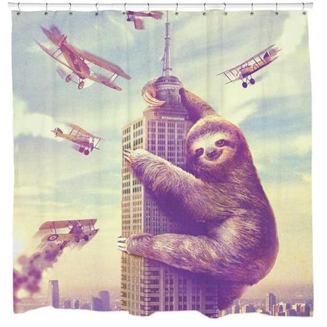 slothzilla shower curtain cool unique graphic shower curtains 19 99 sharp shirter