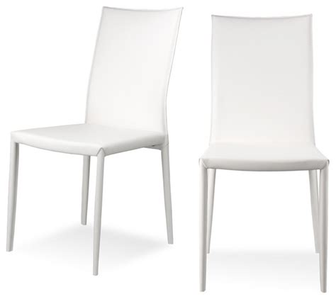 Modern White Leather Dining Chairs White Leather Dining Room Chair Modern Dining Rooms