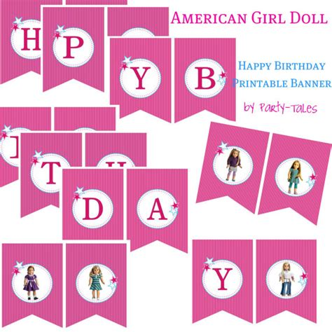printable birthday banner with name american girl doll printable party 2 banners happy