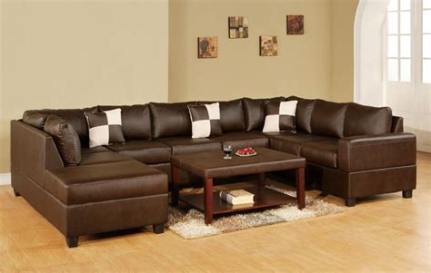 U Shaped Leather Sofa 3 Pc Reversible U Shaped Sectional Sofa In Bonded Walnut Brown Leather Match For The Home
