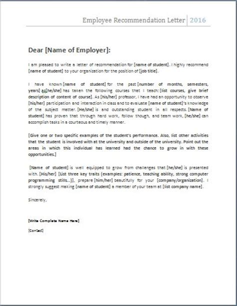 Recommendation Letter Key Points 25 Unique Employee Recommendation Letter Ideas On Writing A Reference Letter