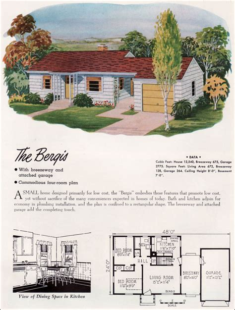 mid century ranch house plans 1952 national plan service the bergis 672 sq ft