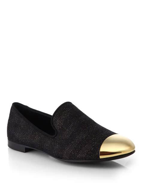 giuseppe zanotti loafers giuseppe zanotti woven cap toe slip on loafers in gold for