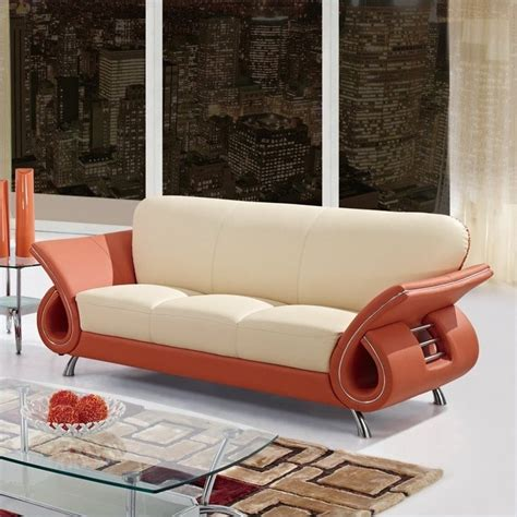 burnt orange leather sofa features