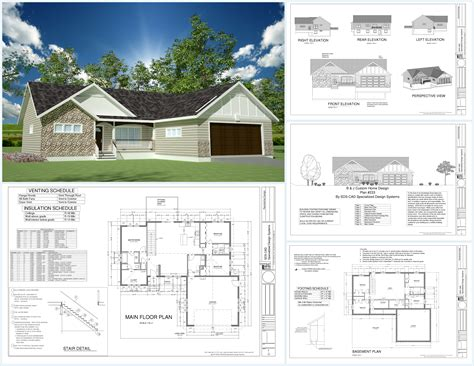 pdf house plans h233 1367 sq ft custom spec house plans in both pdf and dwg file sds plans