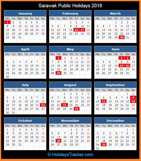 Printable Calendar 2018 Sarawak | sarawak malaysia public holidays 2018 holidays tracker