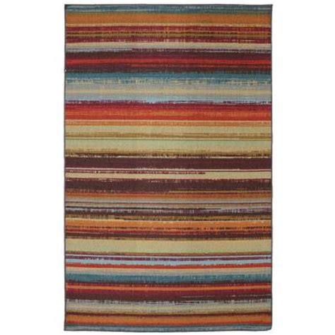 Outdoor Rugs At Home Depot mohawk home avenue stripe 5 ft x 8 ft outdoor printed