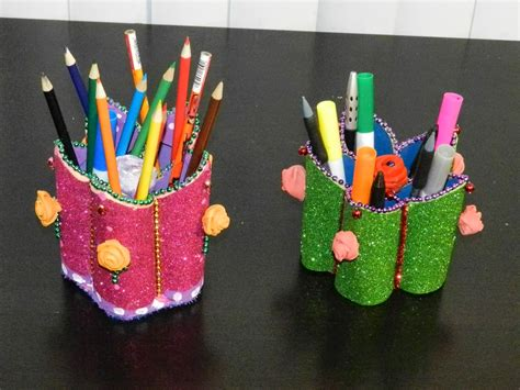 Handmade Craft From Waste Material - creative diy crafts flower shaped pen stand holder with