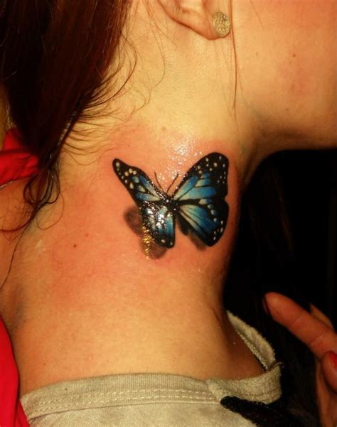 butterfly tattoo on the neck side neck 3d butterfly tattoo for girls tattooshunt com