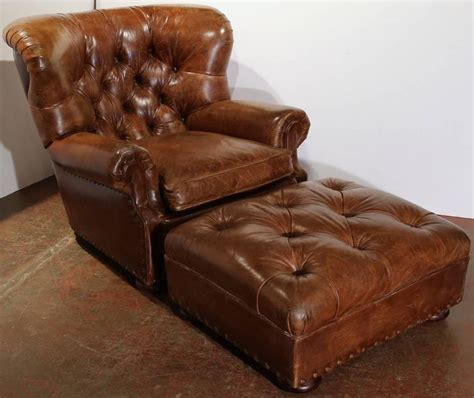 leather armchair and footstool vintage large vintage ralph brown leather armchair with