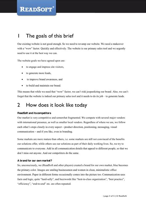 design brief for new website writing for b2b ling s book