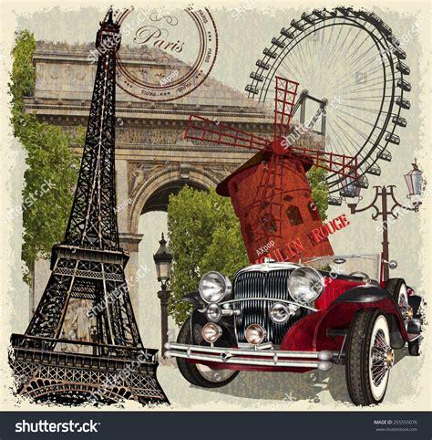 imagenes retro y vintage paris vintage poster stock vector 255555076 shutterstock