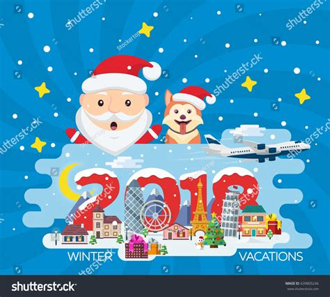 new year 2018 vacation period merry banner flat style traveling stock vector