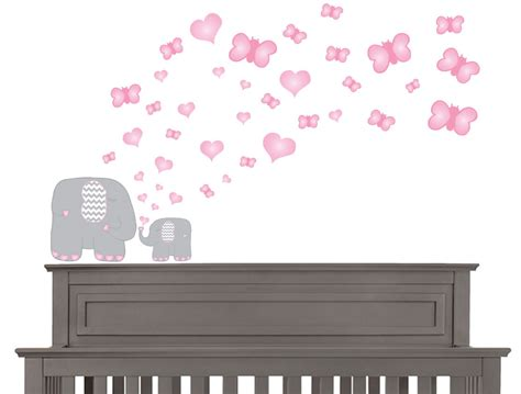 pink wall stickers pink and grey elephant wall decals elephants wall stickers with pink butterflies and