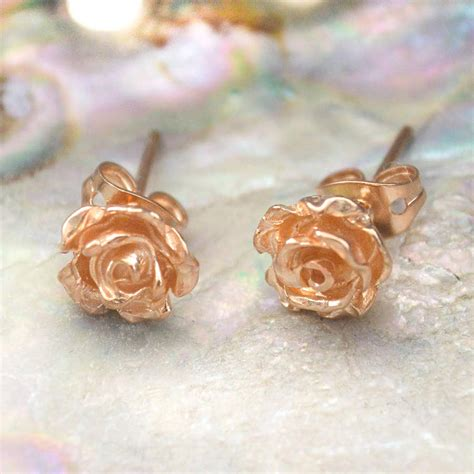 Flower Studs gold flower petal stud earrings by otis jaxon