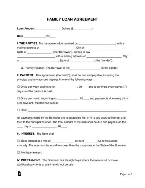 Free Family Loan Agreement Template Pdf Word Eforms Free Fillable Forms Template Loan Agreement Between Family Members