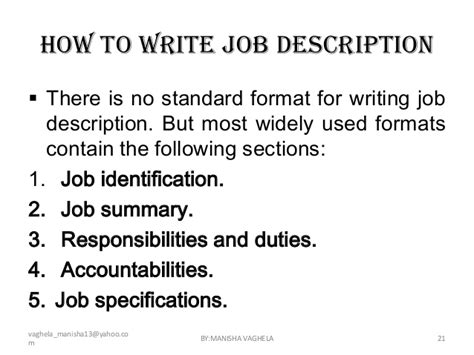 job description sections job descriptions
