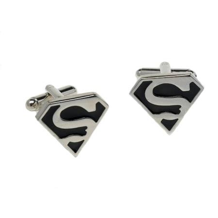 Cufflinks Cufflink Kancing Manset Black Silver Superman new superman cuff links s logo novelty cufflinks in a gift box 10162