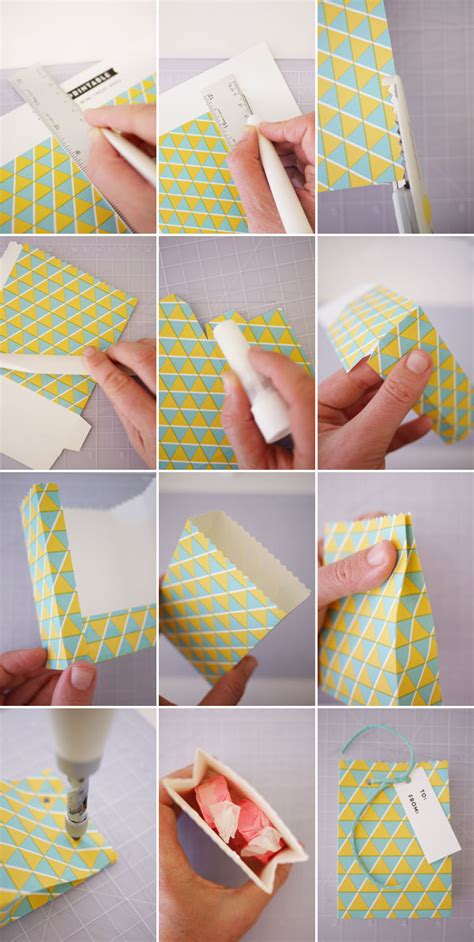 How To Make Small Paper Bags - printable geometric gift bags