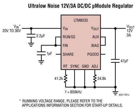 12v dc filter capacitor solutions ltm8033 ultralow noise 12v 3a dc dc μmodule regulator