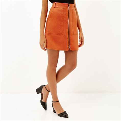 river island orange a line zip front skirt in orange lyst