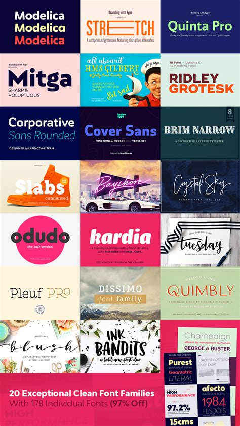20 exceptional clean font families with 178 individual