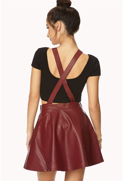 Rebell Overall forever 21 secret rebel faux leather overall dress in lyst