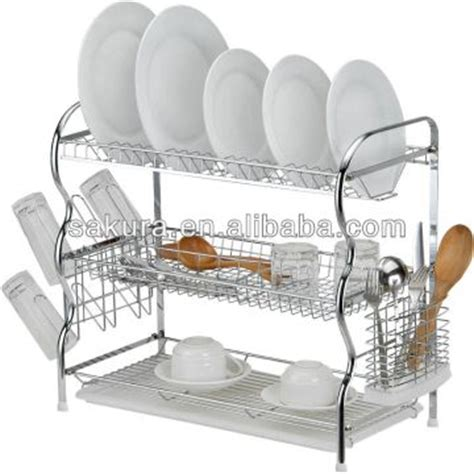 3 tier 22inch chrome wire dish rack plate drying rack w