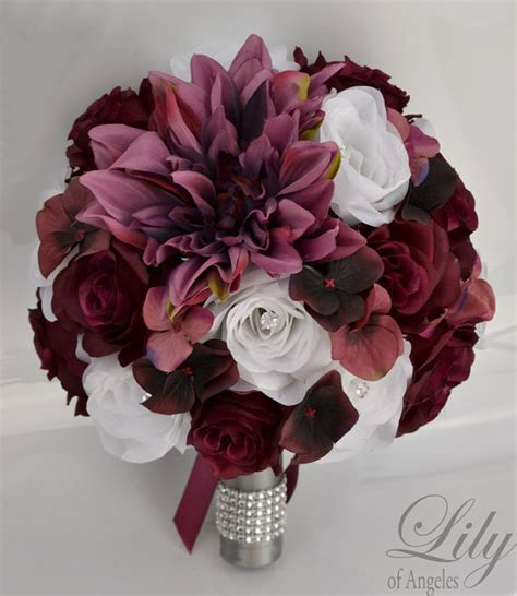 Flower Bokays Wedding by Bridal Bouquet Wedding 17 Package Silk Flowers