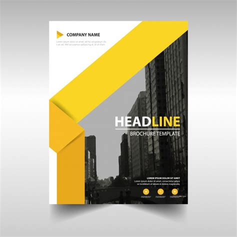 yellow business brochure template with geometric shapes modern brochure template with yellow geometric shapes