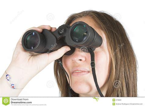 beautiful girl  binoculars stock image image