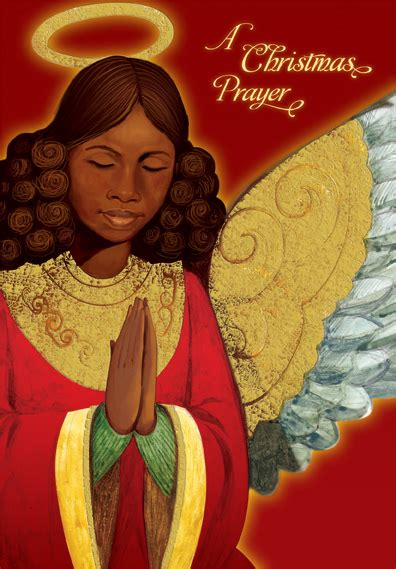 angel praying african american christmas card  designer