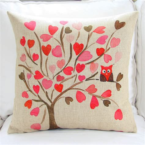 owl on tree watercolor painting cushion covers