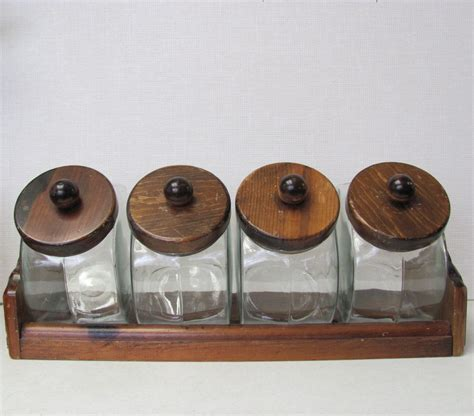 glass kitchen canister set vintage general store style glass canister set by