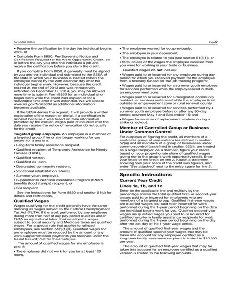 Forms Working Tax Credit Form 5884 Work Opportunity Credit 2014 Free