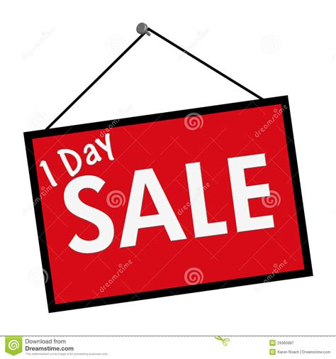 day sale one day sale sign stock image image of words white