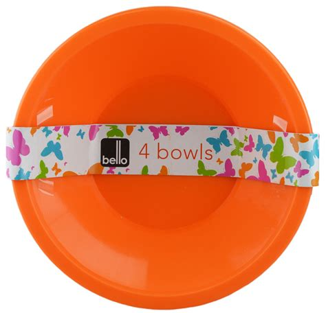 1set And Spoon Desert quot bello quot pack of 4 plastic bowls for desserts cereals fruit salad ebay