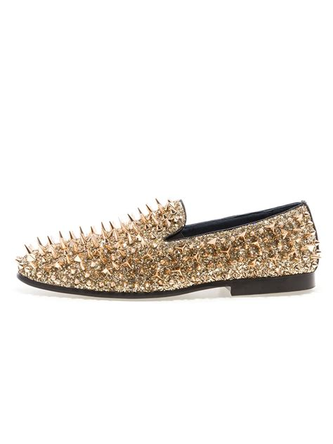 gold spiked loafers jump newyork lord gold spike loafers modishonline