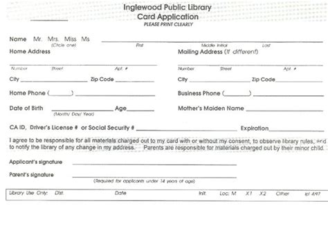 Library Card Application Form Template children s library card template search