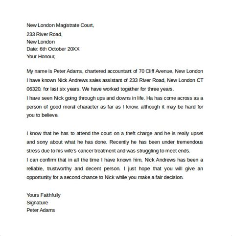 letter to a judge template sle character letter for court templates 8