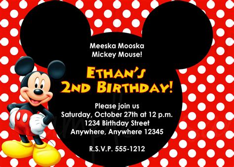 mickey mouse invitations templates mickey mouse birthday invitation