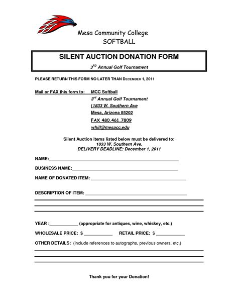 silent auction donation form template silent auction donation form template chainimage