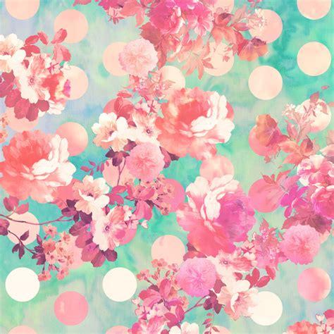 girly print wallpaper romantic pink retro floral pattern teal polka dots art