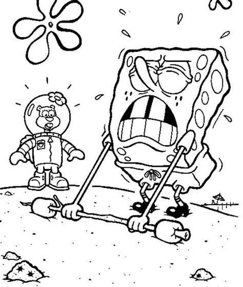 hard spongebob coloring pages weights coloring spongebob doing a hard lifting page kids